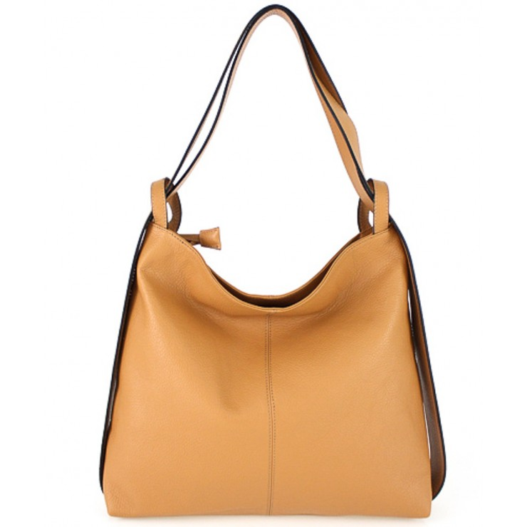 Leather shoulder bag MI357 cognac Made in Italy