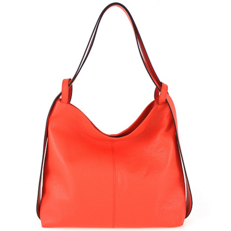 Leather shoulder bag 579 coral Made in Italy