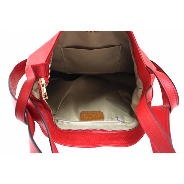 Kožená kabelka na rameno 579 koralová Made in Italy Korálová