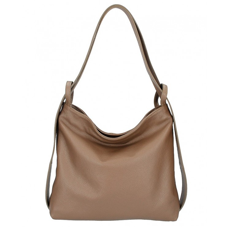 Leather shoulder bag 579 dark taupe Made in Italy