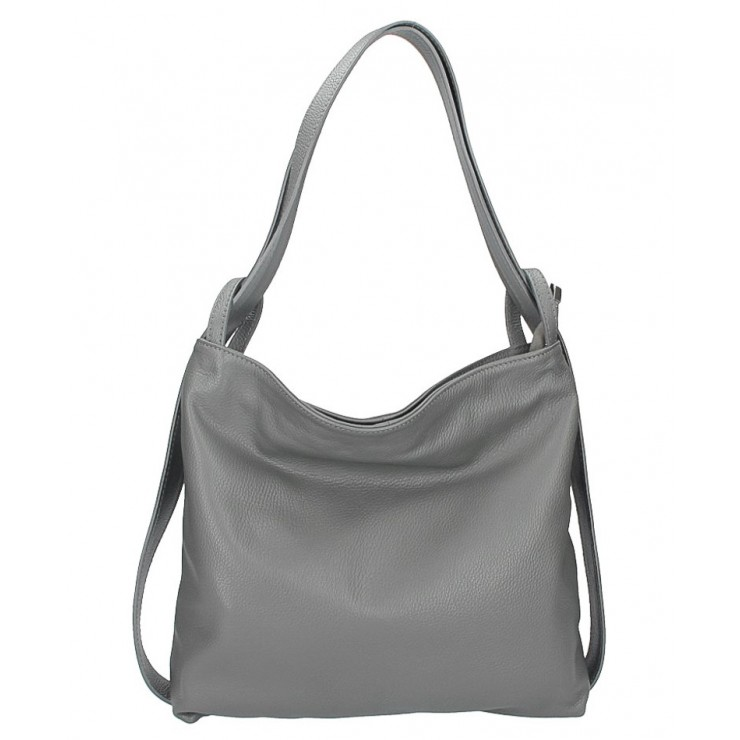 Leather shoulder bag 579 dark gray Made in Italy