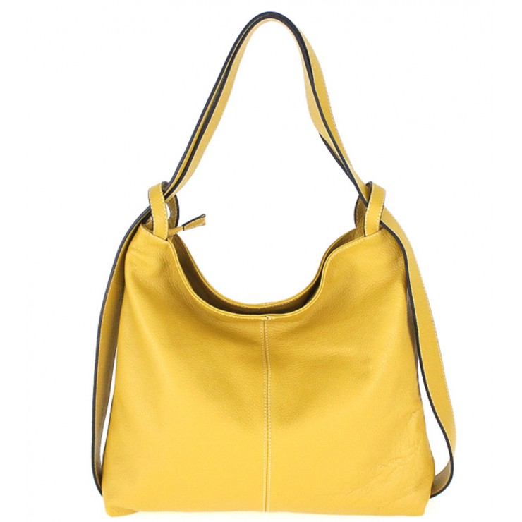 Leather shoulder bag 579 mustard Made in Italy