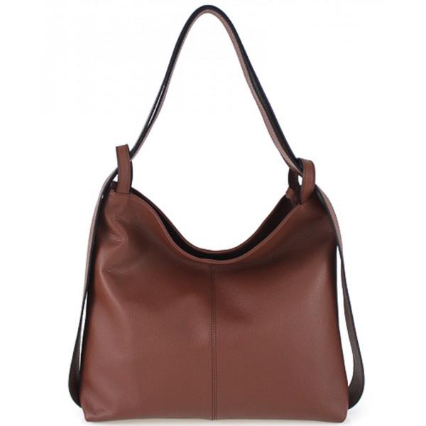 Kožená kabelka na rameno 579 hnedá Made in Italy Hnedá