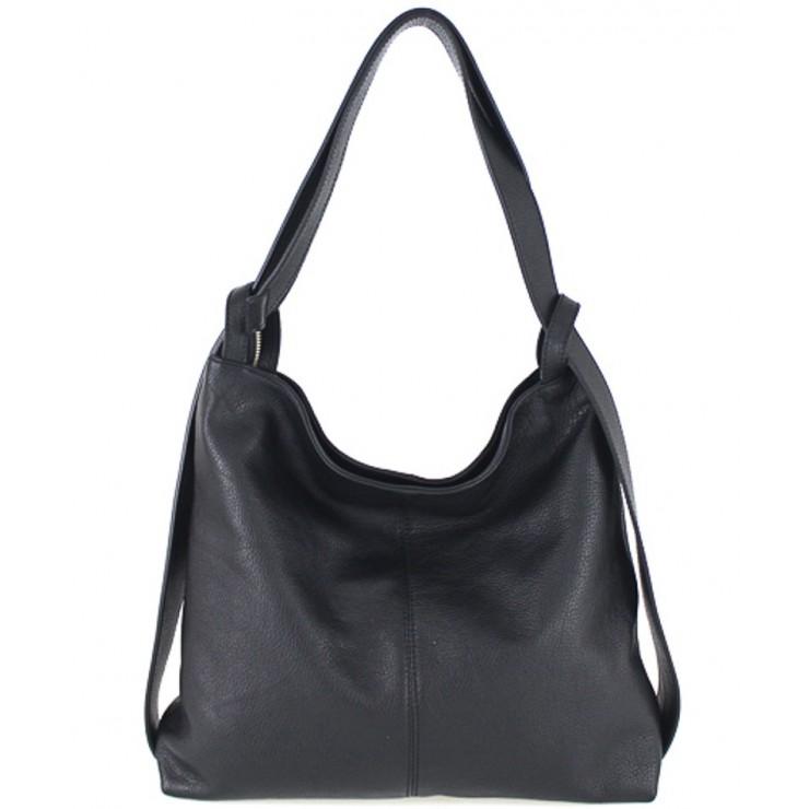 Kožená kabelka na rameno 579 čierna Made in Italy