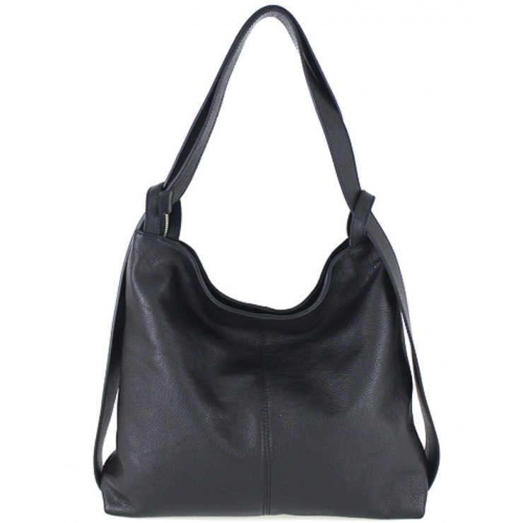 Leather shoulder bag MI357 black Made in Italy