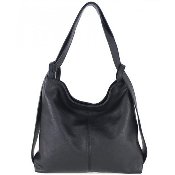 Kožená kabelka na rameno 579 čierna Made in Italy Čierna