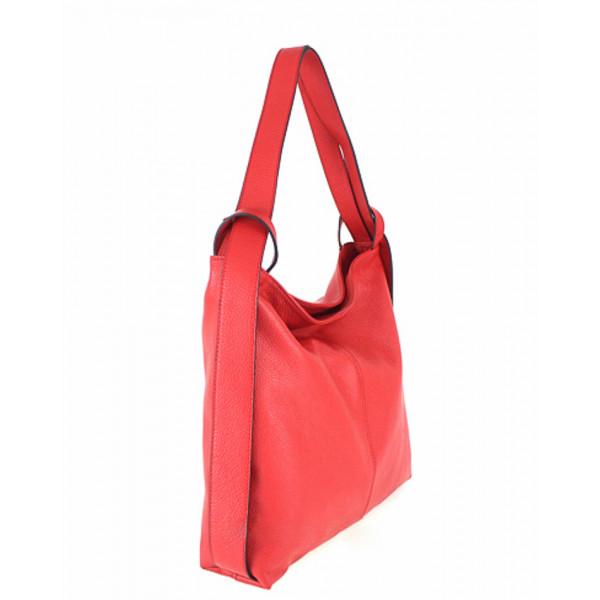 Kožená kabelka na rameno 579 červená Made in Italy Červená