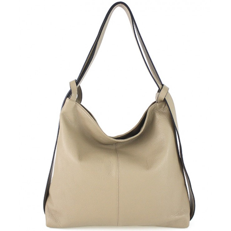 Leather shoulder bag 579 taupe Made in Italy