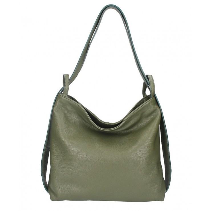 Leather shoulder bag MI357 dark green Made in Italy