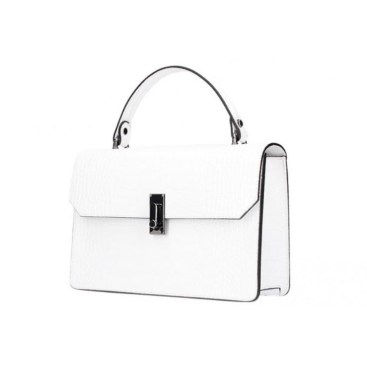 Bílá kožená kabelka do ruky 5314