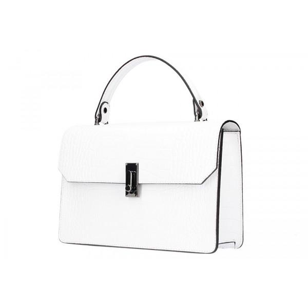 Biela kožená kabelka do ruky 5314