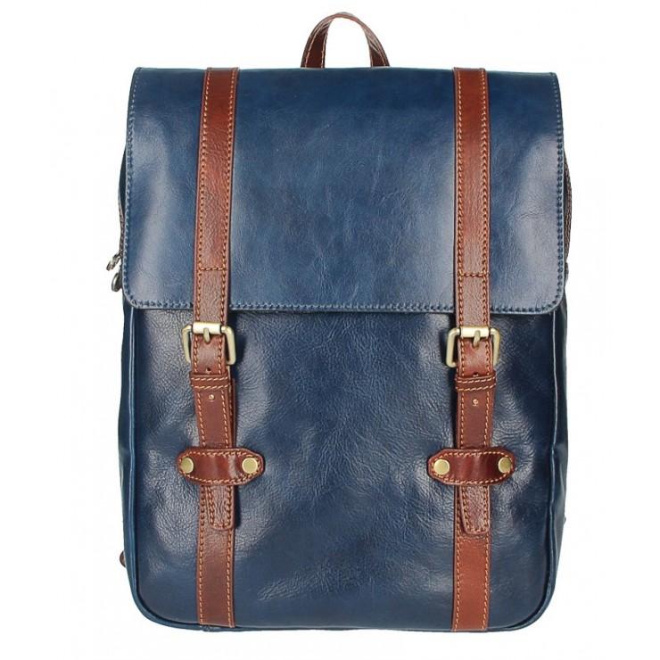 Kožený batoh MI233 modrá+hnedá MADE IN ITALY