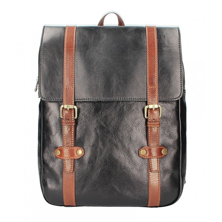 Kožený batoh 5342 čierna+hnedá  MADE IN ITALY