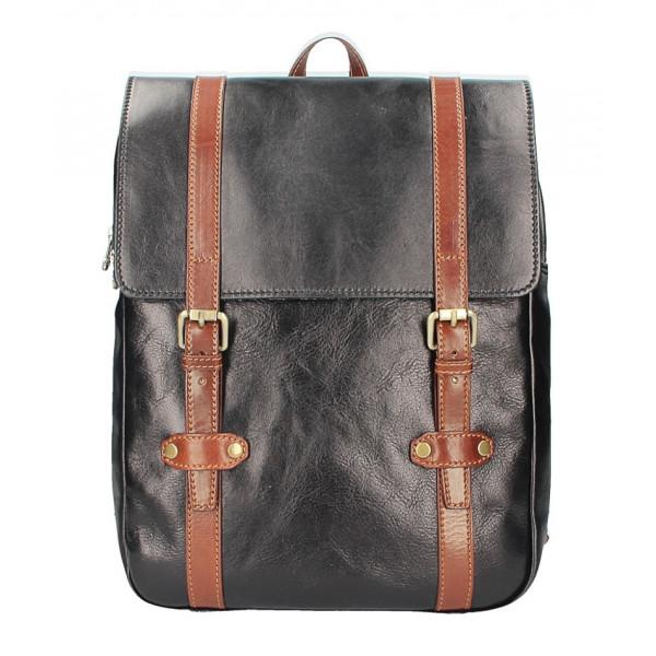 Kožený batoh MI233 čierna+hnedá  MADE IN ITALY