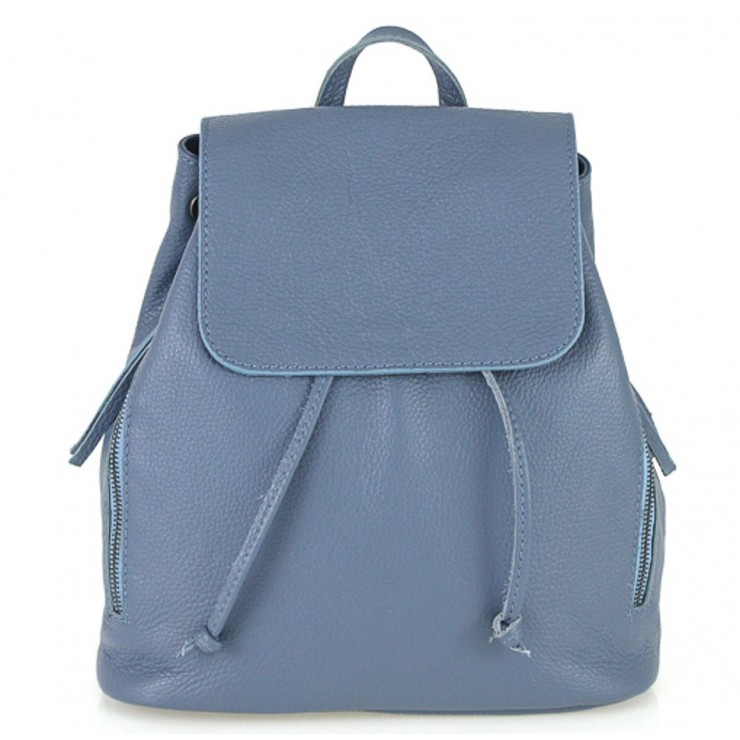 Leather backpack 420 ceruleo Made in Italy