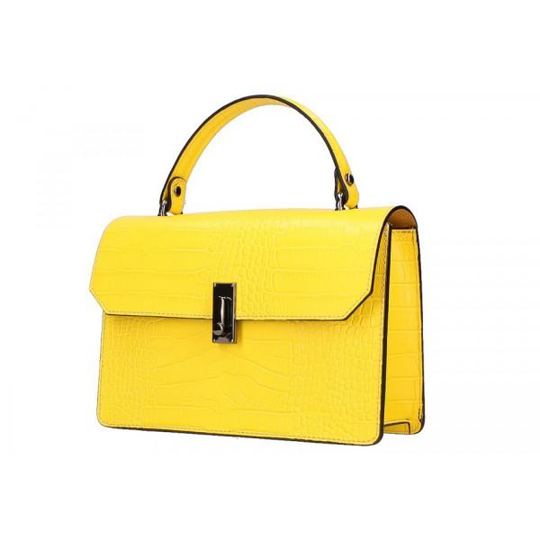 Žltá kožená kabelka do ruky 5314