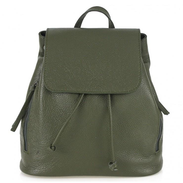 Dámsky kožený batoh 420 vojensky zelený Made in italy