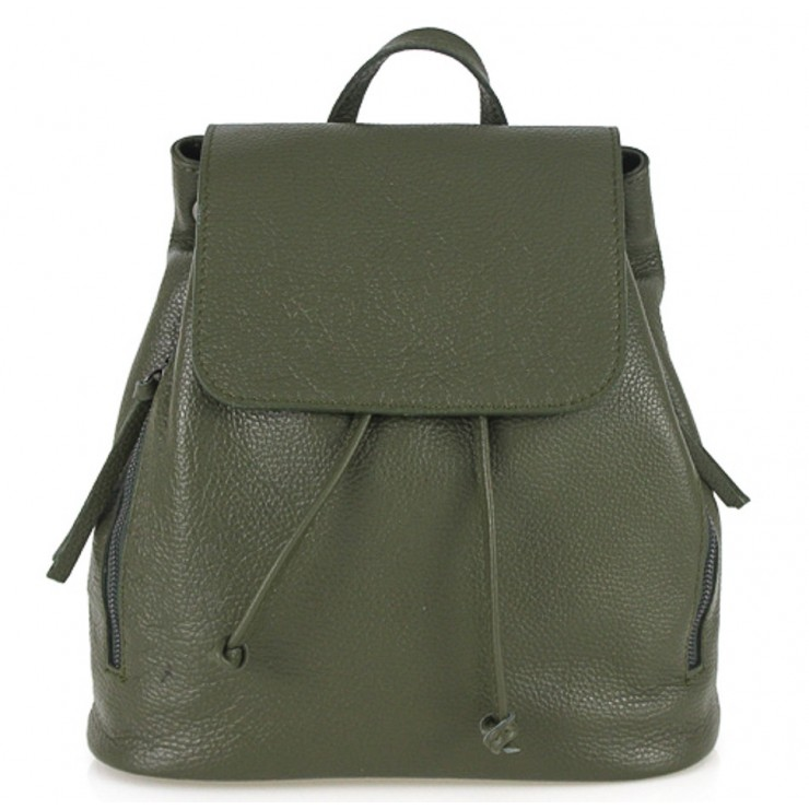Leather backpack 420 military green Made in Italy