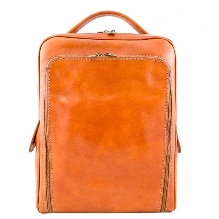 Leather backpack MI902 cognac Made in Italy