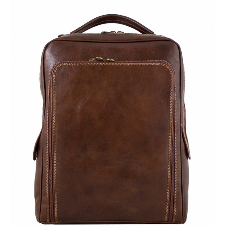 Leather backpack MI902 brown Made in Italy