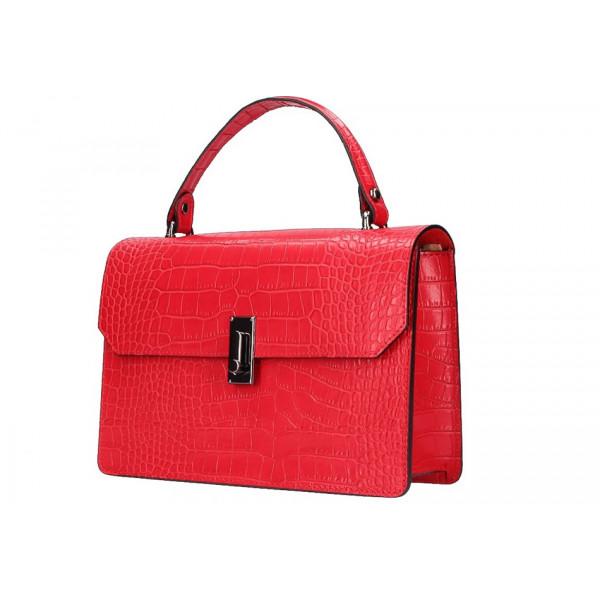 Červená kožená kabelka do ruky 5314