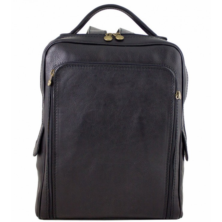 Leather backpack MI902 black Made in Italy