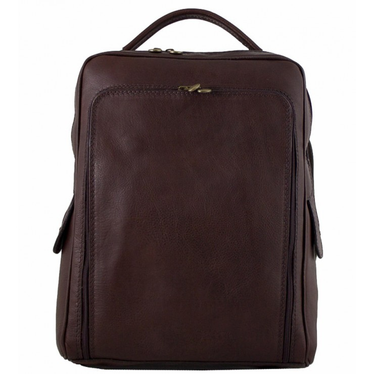 Leather backpack MI902 dark brown Made in Italy