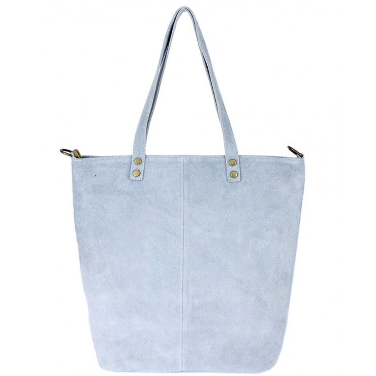 Kožená kabelka na rameno v úprave semiš 768 nebesky modrá MADE IN ITALY