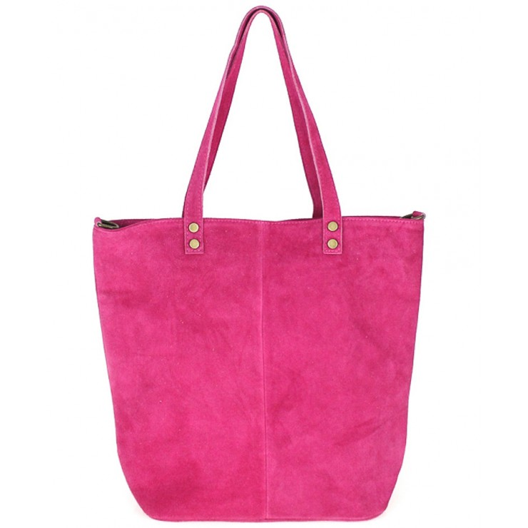 Genuine Leather Maxi Bag 768 fuxia MADE IN ITALY