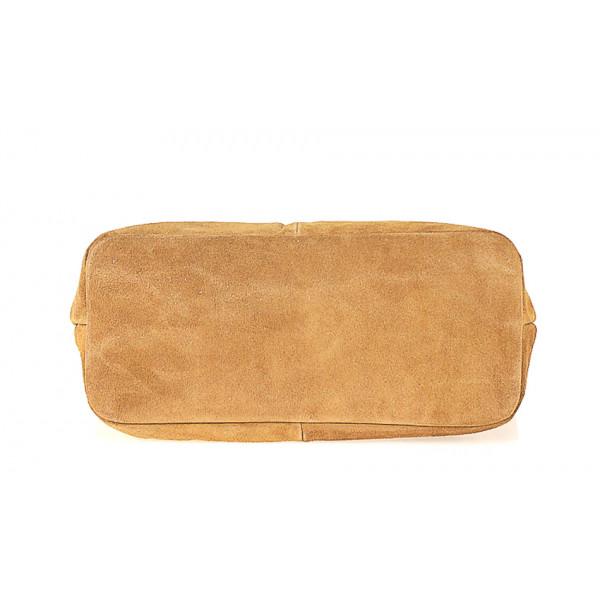Kožená kabelka na rameno v úprave semiš 768 fuchsia MADE IN ITALY