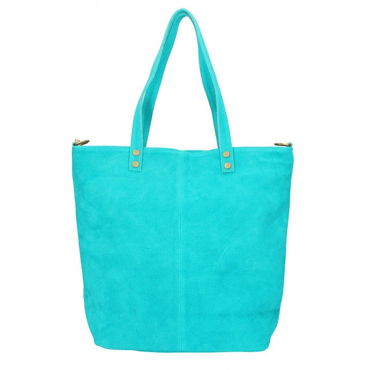Genuine Leather Maxi Bag 768 turquoise MADE IN ITALY