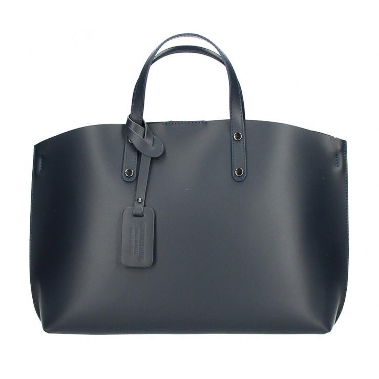 Genuine Leather Handbag 530 dark blue MADE IN ITALY