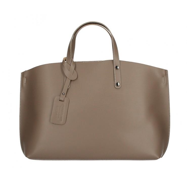 Genuine Leather Handbag 530 dark taupe MADE IN ITALY