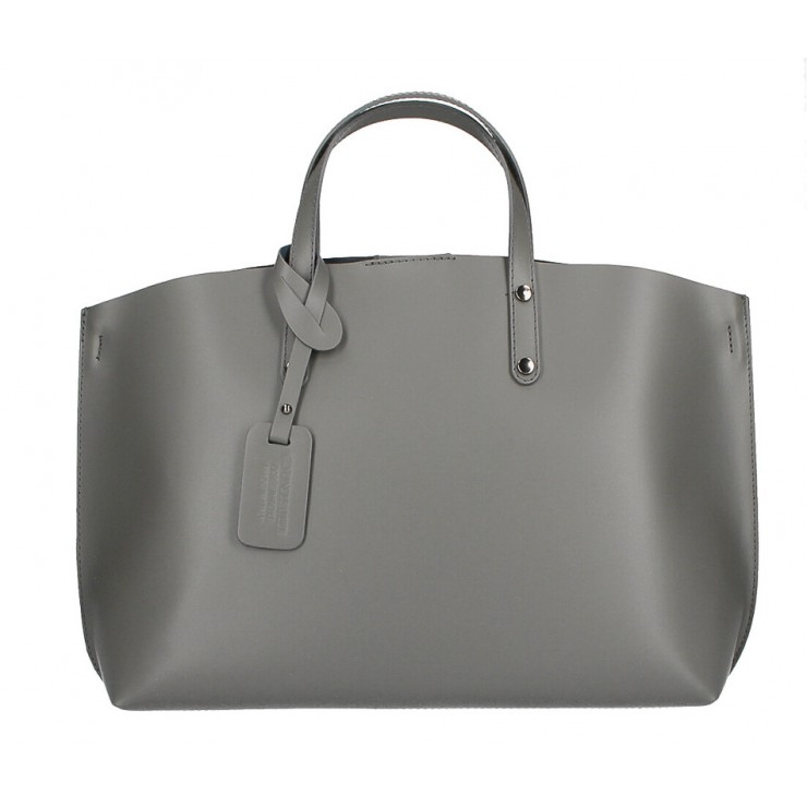 Genuine Leather Handbag 530 dark gray MADE IN ITALY