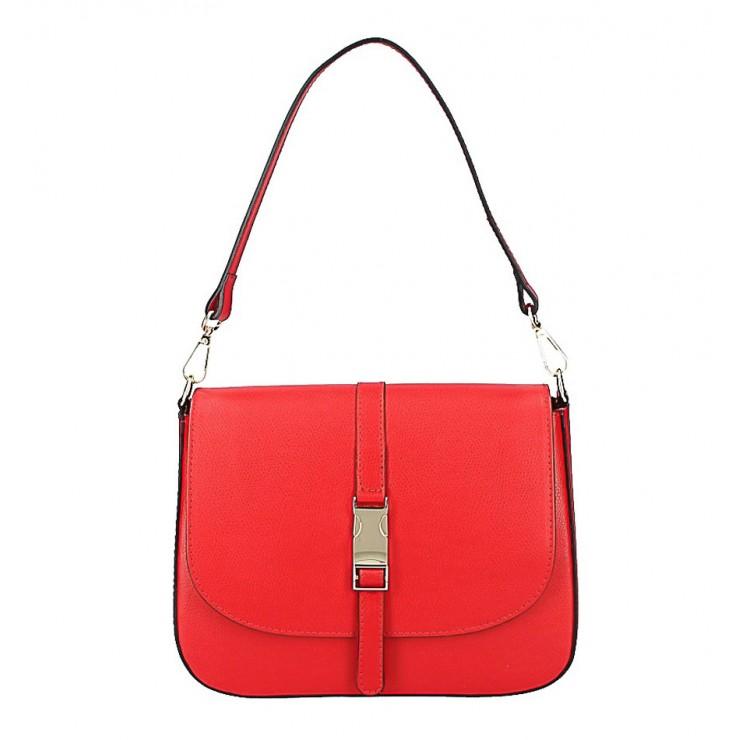 Červená kožená kabelka na rameno 589