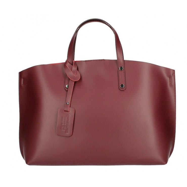 Kožená kabelka do ruky 1417 tmavočervená MADE IN ITALY