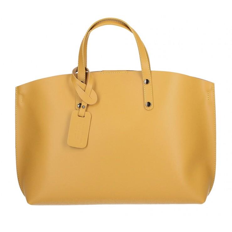 Kožená kabelka do ruky 1417 okrová MADE IN ITALY