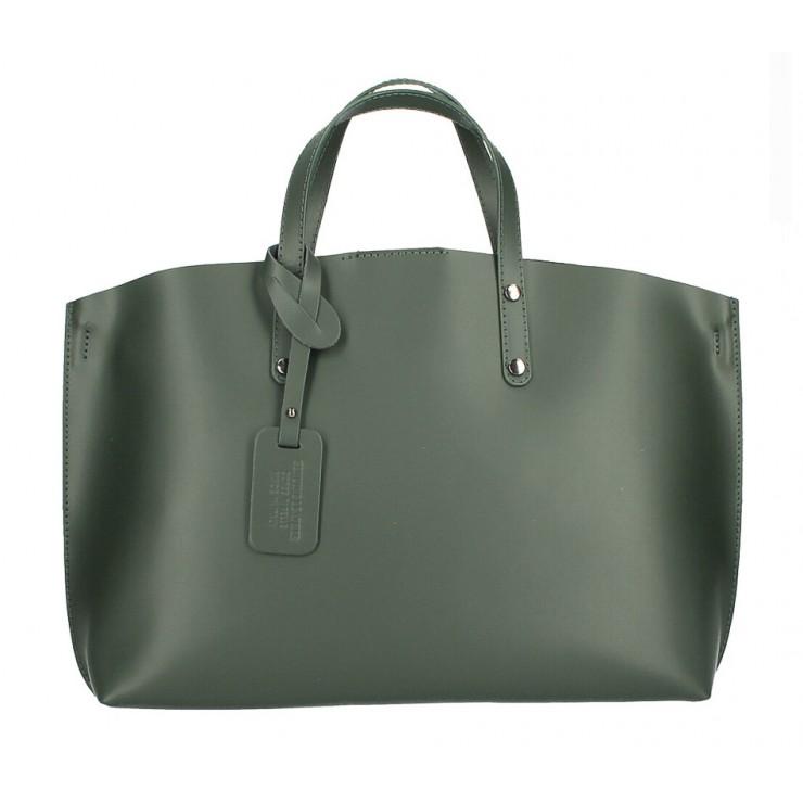 Genuine Leather Handbag 1417 dark green MADE IN ITALY