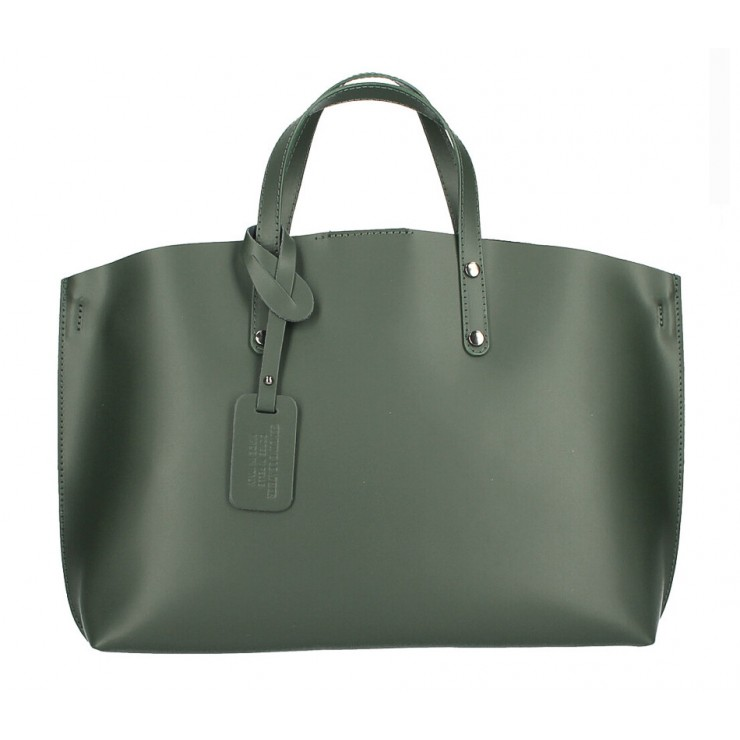 Genuine Leather Handbag 530 dark green MADE IN ITALY