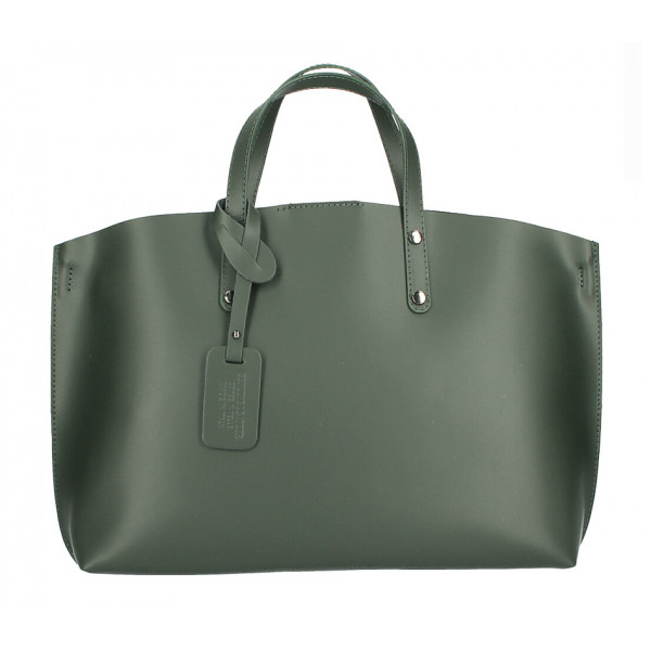 Kožená kabelka do ruky 1417 tmavozelená MADE IN ITALY