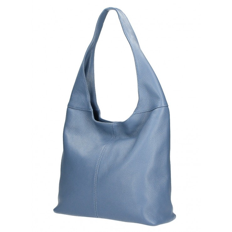 Leather shoulder bag 590 light blue MADE IN ITALY
