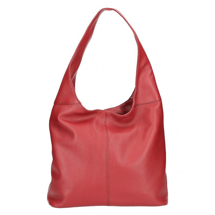 Leather shoulder bag 590 dark red MADE IN ITALY