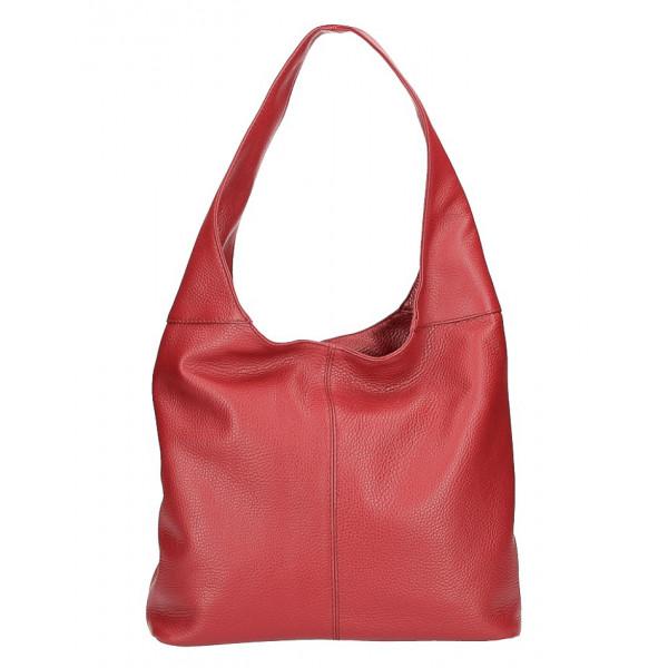 kožená kabelka na rameno 590 tmavočervená MADE IN ITALY Červená