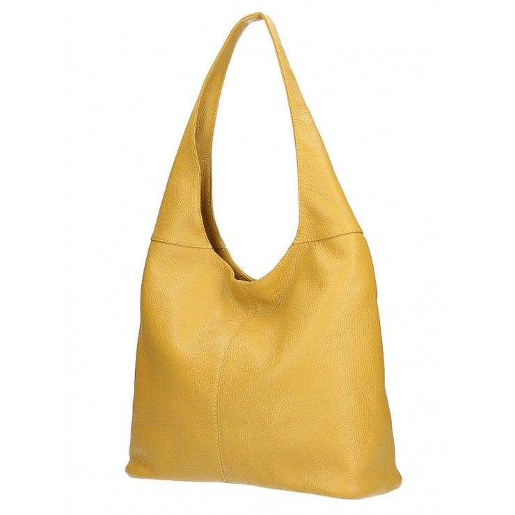 Leather shoulder bag 590 mustard MADE IN ITALY