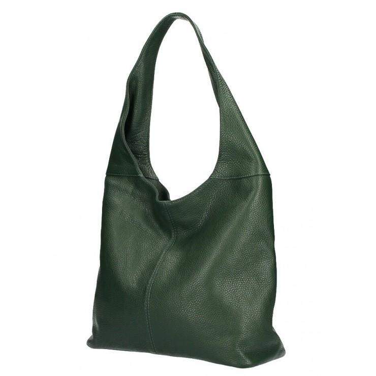 kožená kabelka na rameno 590 tmavě zelená MADE IN ITALY