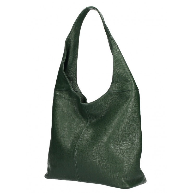 Leather shoulder bag 590 dark green MADE IN ITALY