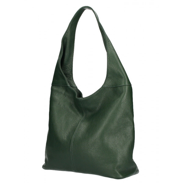 kožená kabelka na rameno 590 tmavozelená MADE IN ITALY Zelená