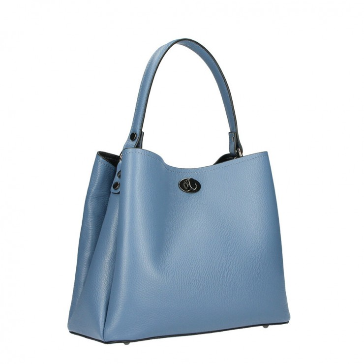 Genuine Leather Handbag 232 ceruleo MADE IN ITALY