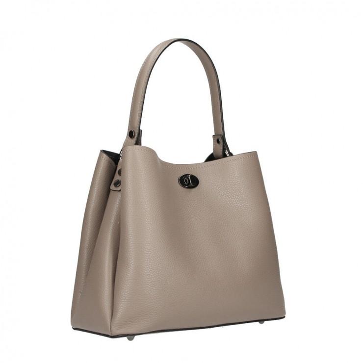 Genuine Leather Handbag 232 dark taupe MADE IN ITALY