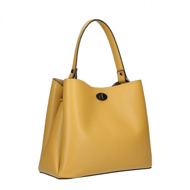 Genuine Leather Handbag 232 mustard MADE IN ITALY